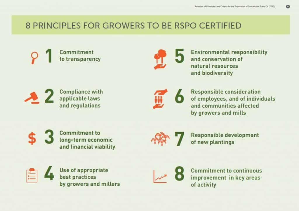 Principles for sustainable palm oil